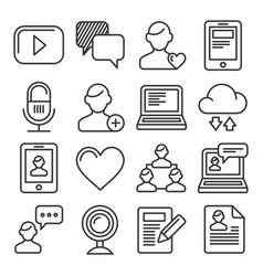 media and blog icons set on white background vector image