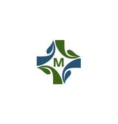 Medical herbal initial m vector