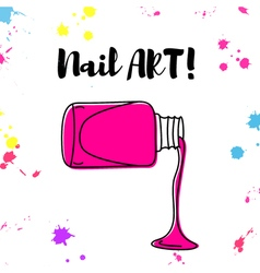 Nail polish spill hand drawn poster vector
