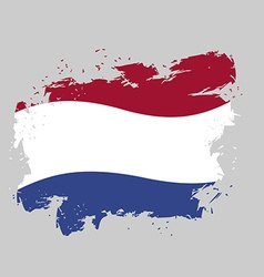 Netherlands flag grunge style on gray background vector