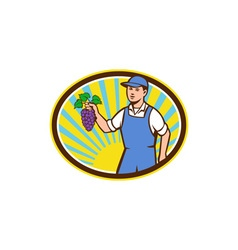Organic Farmer Boy Holding Grapes Oval Retro vector image