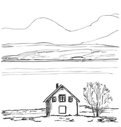Outline sketch of a house hand drawn landscape vector