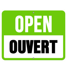Ouvert sign in black and green vector image