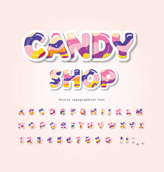 Paper cut out sweet font design candy abc letters vector