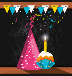 party hat decorative and cupcake with candle vector image
