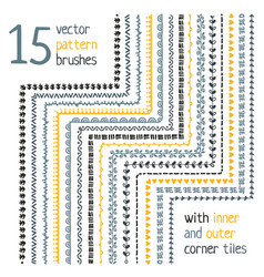 Pattern brushes set with corner elements vector
