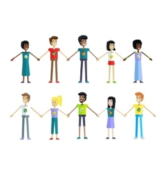 People in a Row Holding Hands vector image