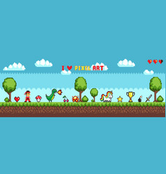 Pixel art style character in game arcade play vector