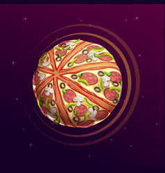 pizza planet fantasy space vector image