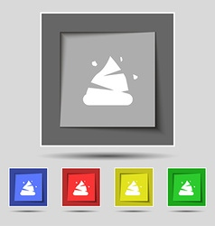 Poo icon sign on original five colored buttons vector