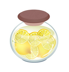Preserved Lemons in A Jar on White Background vector