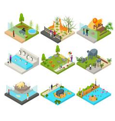 public zoo set concept 3d isometric view vector image