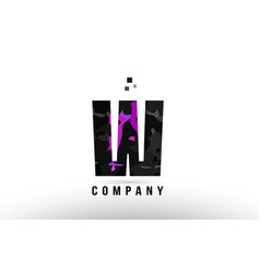 purple black alphabet letter w logo design vector image