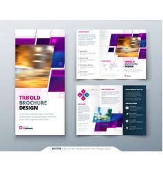 Purple tri fold brochure design with square shapes vector