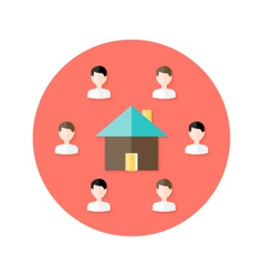 Real estate open house with people circle flat vector