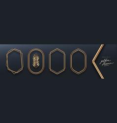 Realistic golden metal 3d frames vector
