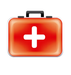 Red suitcaise medicine tools icon vector