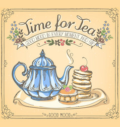 retro time for tea with teapot and pancakes vector image