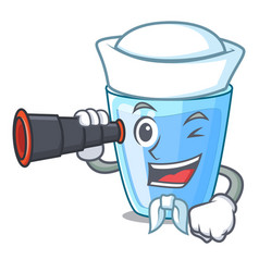 Sailor with binocular water glass isolated on the vector