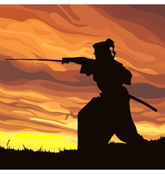 Samurai silhouette against the sunset vector image