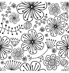 Seamless monochromatic black pattern with flowers vector
