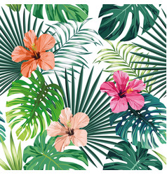 Seamless tropical pattern white background vector