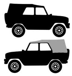 Set black silhouettes cars on white background vector image