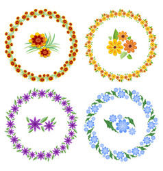 Set of cheerful beautiful multicolored wreaths and vector
