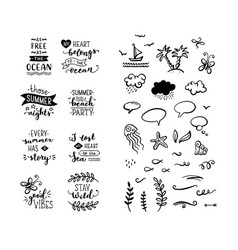 Set of hand-drawn lettering phrases and clipart vector