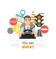 set of traffic symbols and driver character vector image