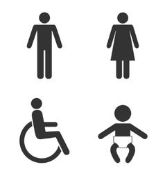 Set toilet people signs vector