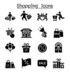 shopping black friday cyber monday icon set flat vector image