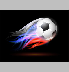 Soccer ball with flame trail of russian flag vector