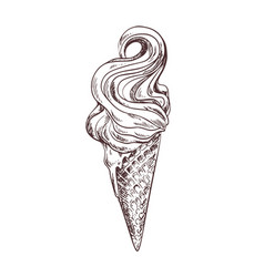 soft ice cream in waffle cone vector image