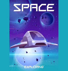 space exploring cartoon poster rocket in galaxy vector image