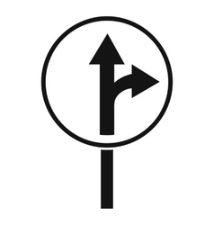 Straight or right turn ahead road sign icon vector