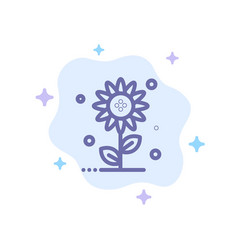 sunflower floral nature spring blue icon on vector image