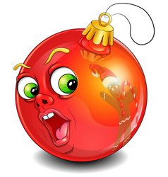 Surprised christmas ball vector