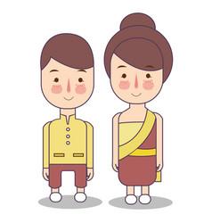Thailand wedding couple cute traditional clothes vector