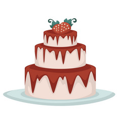 Three tier strawberry cake with pink frosting vector