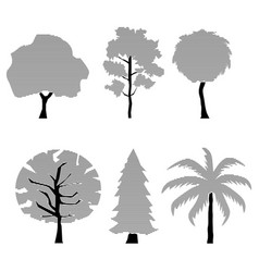 Trees silhouette set horizontal line vector