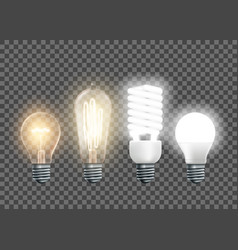 tungsten edison fluorescent and led light bulbs vector image