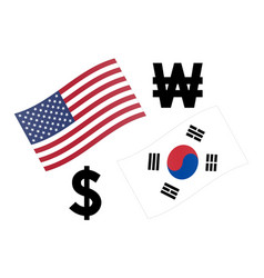 Usdkrw forex currency pair american and korean vector