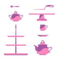 Vintage tea service vector