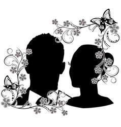 wedding silhouette with flourishes frame 2 vector image