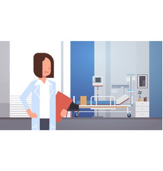 Woman medical doctor clinics hospital interior vector