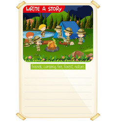 Write a story camp scene vector