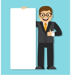 businessman with a big blank paper sign vector image vector image