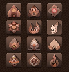 Flat design thai art pattern icon set vector image