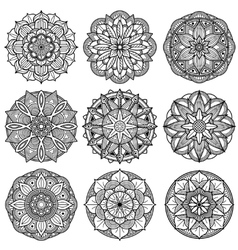 Indian meditation mandala patterns set vector image